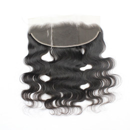 "7A Virgin Body Wave Lace Frontal Closure Human Hair Brazilian Lace Frontals 13*4 1B Middle Part Peruvian Lace Frontals Hair 8""-20"" on Sale"