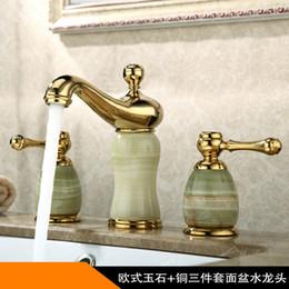 Toptan satış Yeni varış yüksek kaliteli altın bitmiş lüks yaygın banyo lavabo bataryası pirinç ve Yeşim havza musluk, dokunun mikser