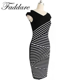 Barato Vestido De Lapis De Listrado-Favolook Summer Women Dress 2017 Algodão V-Neck Striped Sexy Mulheres Bodycon Pencil Dress Vestidos de festa de escritório Vestidos De Festa