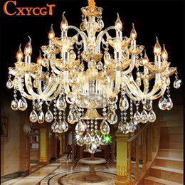 Bedroom Chandeliers Candles Canada - K9 Crystal Candle Chandelier Light Fixture Luxury Lampara de arana For Living Room Hotel AC110V~240V 6 8 10 12 15 18 Arms