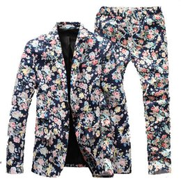 Robes D'affaires Vintage Pas Cher-Wholesale- (Jacket + Pants) Costumes Floral Hommes 2016 Nouveau Designer Brand Fashion vintage Slim Flower Business Robe Blazer 3XL 4XL 5XL