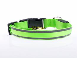 Discount dog reflective light - 100pcs lot Nylon Pet dog LED Collar Flashing LED Collar Safety LED Flashing Light Up Dog Collar with reflective strip