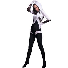 Spiderman coStume women online shopping - 2017 New Spider Gwen Stacy White and Black Zentai Costume Superhero Halloween Costumes One Piece Jumpsuit Women Spiderman Cosplay