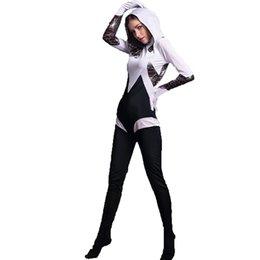 spiderman costume women 2018 - 2017 New Spider Gwen Stacy White and Black Zentai Costume Superhero Halloween Costumes One Piece Jumpsuit Women Spiderma