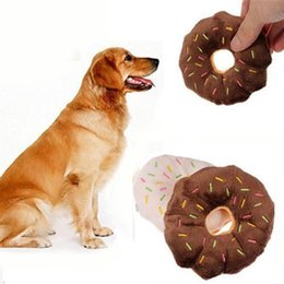 $enCountryForm.capitalKeyWord NZ - Cute & Funny Pet Products Cute Donuts Puppy Cat Squeaker Squeaky Plush Sound Toys Pet Chew Throw Toys Diameter 11cm