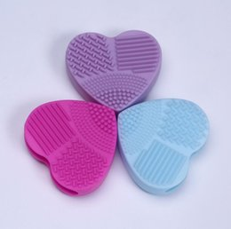 wholesale eco makeup brushes Australia - Makeup Brush Egg Cleaning Heart Shape Makeup Washing Brush Pad Silicone Glove Scrubber Cosmetic Foundation Powder Clean Tools