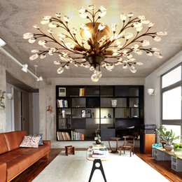 Tree Branch Pendant Lamps K9 Crystal Chandeliers Vintage Chandelier Iron Modern Living Ceiling Light Lighting Fixture