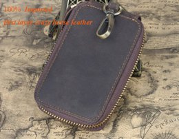 Luxury key waLLet online shopping - Refined Car Keys wallets first layer crazy horse leather one zipper luxury hardware cm cards wallets factory prices sale