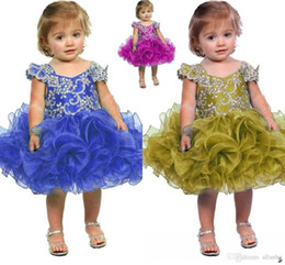 Barato Vestidos Glitz Para Crianças-2017 Lovely Cupcake Dresses Sequins Crystal Mini Glitz Flower Girl Vestidos Dress Up Men Dresses Formal Little Kids Aniversário Ba3903