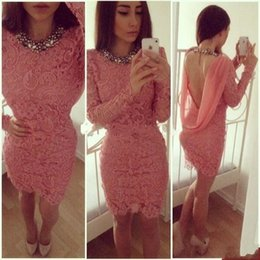 Chinese  Coral Lace Cocktail Dress With Long Sleeves Popular Sheath Beaded Backless Short Women Party Prom and Homecoming Dress manufacturers