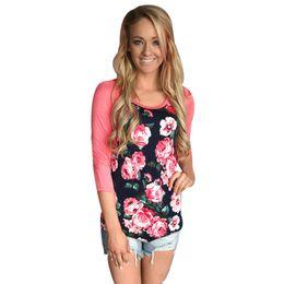 $enCountryForm.capitalKeyWord UK - Wholesale- Women t-shirts Raglan Floral Print Cotton T-Shirt Fashion Girls Patchwork Tops Tee Pullover Lady Casual Undershirt Female Nov1