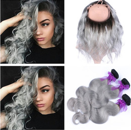 Ombre Lace Frontal Canada - 1B Grey Ombre Peruvian Human Hair 3 Bundles With 360 Lace Frontal Body Wave Silver Grey Ombre Weaves With 360 Band Lace Closure