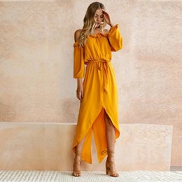 womens long summer robes 2018 - New Womens Summer bohemian Dress Boho Fashion Ladies Sexy Off Shoulder Party Beach Casual Long Maxi holiday Dress vestid