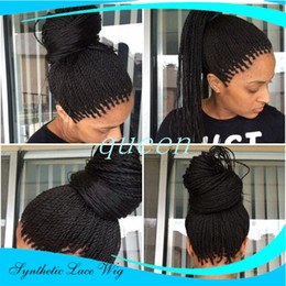 Long hair sexy women online shopping - Hot Sexy b Synthetic Micro Twist Braid Lace Front Wigs Heat Resistant Fiber Long Brazilian African American Women Wigs With Baby Hair