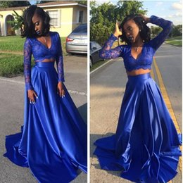 Vestidos Fiesta À Vendre Pas Cher-Hot Sale 2017 Royal Blue Deux pièces A-line Robes de bal 2K17 Sexy Vestidos De Fiesta V-neck Manches longues A-Line Evening Party Gowns Cheap