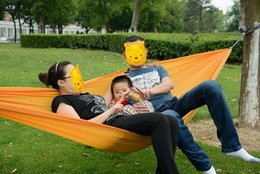 camping swing Canada - Two Colors Hanging Sleeping Bed Parachute Nylon Fabric Outdoor Camping Hammocks Double Person Portable Hammock Swing Bed