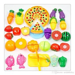 fruit cutting toy for kids Canada - Funny Cutting Toys Fruit Vegetable Kitchen Cutting Toys Cutting Early Development And Education Toy For Baby Kids Children Free DHL