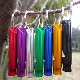 Wholesale 2017 Outdoor Emergency Survival Kit Rescue Whistle Keychain Clip Hook Mini Aluminium Alloy Whistle Key