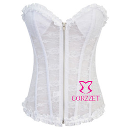 corset zipper lingerie NZ - Beautiful Sexy Strapless Push Up Bridal Corset Bustier Underwear Lingerie Zipper Front Wedding Lace White Corsets Top For Women