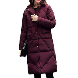 Barato Parka Feminino-New Women's Quilted Winter Warm Thickened Parka Long Down Jacket Puffer Coat