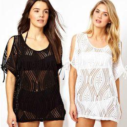 0d21e35923 Women Hollow Out Bikini Cover Ups Fashion Blouse Sheer Crochet Wrap Sexy  Beach Dresses Boho Beachwear Hot Poncho Mini Dress Swimsuit D498