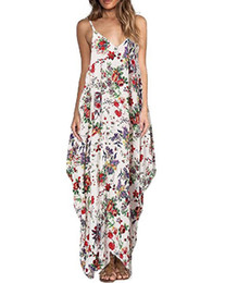Maxi Long Été Plage Sundresses Pas Cher-Boho Women Floral Print Long Maxi Robe Casual Loose Holiday Sans manches V Neck Bandage Summer Beach Vest Sundress