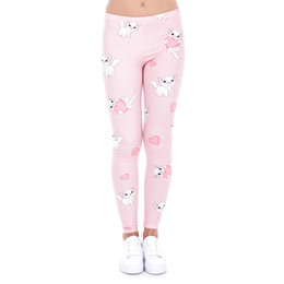 3d Pussy Pas Cher-Leggings de fille Pussy Power Kitty 3D Graphic Print Femmes Skinny Stretchy Love Heart Pattern Pantalons roses Yoga Fitness Capris Trousers (J43458)