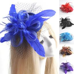 $enCountryForm.capitalKeyWord Canada - 9pcs lot hot fashion handmade headwear lady women bridal wedding party accessory mini pillbox hat feather mesh fascinator hair clip gift