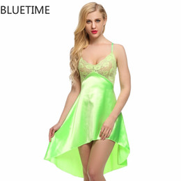 d6db9b6bc0 Wholesale- Sexy Stain Nightgown Summer Nightwear Women Night Dress Faux  Silk Female Sleepwear Lace Lingerie Nightdress Underwear Nighty 8A5