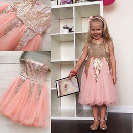 $enCountryForm.capitalKeyWord Canada - Toddler Pageant Dresses Sequins Flower Girls Dresses For Weddings Knee Length Cute A Line Custom Made Cheap First Communion Dresses