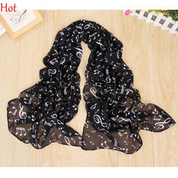 Music Note Print Scarf NZ - Fashion Scarf Music Note Sheet Music Piano Notes Script Print Scarves Infinity Scarf Elegant Wrap Neck Warmer Chiffon Long Scarf SV011276