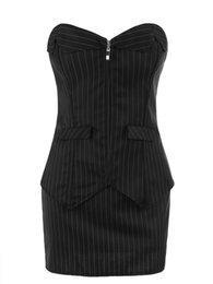 Vestido de corsé a rayas negro oficina sexy mujeres con cordones traje bustier traje de señora delgado conjunto cintura overbust burlesque corsé falda