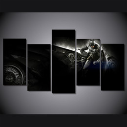 Arkham Figures NZ - 5 Pcs Set Framed HD Printed batman arkham knight betmen Painting on canvas room decoration print poster picture canvas Free shipping ny-1867