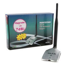 Vente en gros Gros-haute puissance 150Mbps Alfa AWUS036H USB sans fil WIFI Adaptateur Réseau WiFi 802.11b / g RT3070L USB avec antenne 7dBi