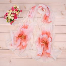 $enCountryForm.capitalKeyWord Canada - 50*160cm Chiffon Scarf Big Flowers Underbrush Long Scarfs For Women Polyester Silk Brand Designer Hijab Wraps Scarves