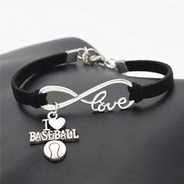 Wholesale-New Sport Punk Antik Silber Ich liebe Baseball Fußball Basketball Volleyball Fußball Charm Anhänger Unendlichkeit Liebe Lederarmband