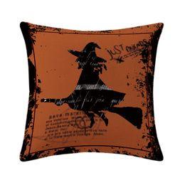 $enCountryForm.capitalKeyWord Canada - shabby chic home decor halloween cushion cover witch throw pillow case for sofa chair skull pumpkin spider almofada