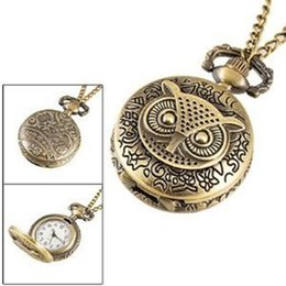 China Wholesale-Retro Charm Owl Bronze Mini Pocket watch Clothes Small Necklace Accessories For Gifts suppliers