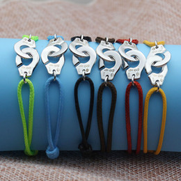 All'ingrosso- Francia Parigi gioielli in argento sterling 925 bracciale per le donne con corda in argento 925 ciondolo bracciale menottes