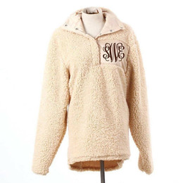 Wholesale sherpa jacket women for sale - Group buy Women Soft Sherpa Pullover long sleeve oversize jacket winter outwear women fleece pullover high quality Hot Sale Monogrammed sweatshirt