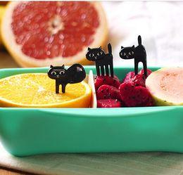 $enCountryForm.capitalKeyWord NZ - 6pcs set Black Cat Fruit fork Cute Cartoon Baby Fork Toothpick Gadgets Kitten Dessert Decoration Fork Kitchen Accessories