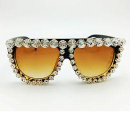 $enCountryForm.capitalKeyWord Canada - Wholesale-Queen Style Women 2016 Famous Brand Designer Vintage Sunglasses Woman Luxury Diamond oversize Large Exaggerated Sunglasses