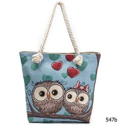 Owl Ladies Handbag Australia - Owl Printed Canvas Women's Casual Tote Daily Use Female Fashion Shopping Bag Ladies Single Shoulder Handbag Simple Beach Bags