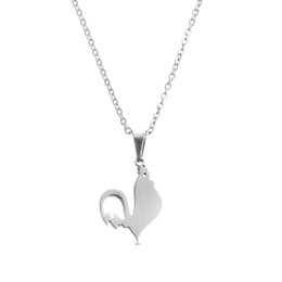 Cock Necklace Canada - EVERFAST Fashion New Stainless Steel Necklaces,Cute Cock Animal Pendant Chinese Zodiac Chokers Statement Necklace Women Lucky Gift SN015