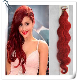 Discount tape hair extensions body wave - Red 100g Brazilian body wave Hair 40pcs human hair adhesive 100g tape skin weft hair extensions