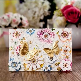 China Wholesale-High Class Butterfly Wedding Invitations 2015 Laser Cut Printing Invitation Card Convites De Casamento + Personalized Printing cheap butterfly cut cards suppliers