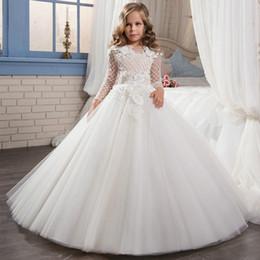 $enCountryForm.capitalKeyWord NZ - Fancy Pageant Dress Long Sleeves Lace Appliques Ivory Satin Flower Girl Dresses Wedding Custom Holy First Communion Dresses