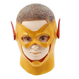 costume mask movie UK - Free Shipping 2017 New The Flash Mask DC Movie Cosplay Costume Prop Halloween Full Head Latex Party Human Movie Masks