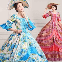 $enCountryForm.capitalKeyWord NZ - Dance Dress 18th Century Marie Antoinette Dress Ball Gown Vintage Floral Print Reenactment Theatre Clothing Costume Women Lace Dress Vestido