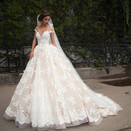Chinese  Luxury Lace Ball Gown Wedding Dress Sheer Neck Princess Arabic Muslim Arab Bride Bridal Gowns Custom made manufacturers